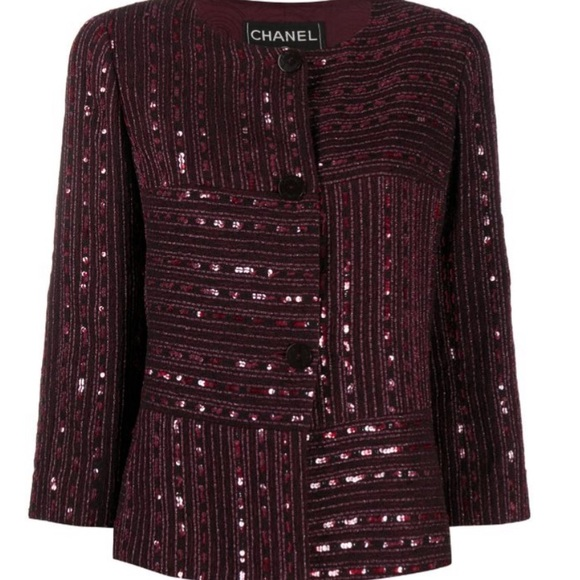 Chanel maroon jacket with sequins 36/US 4